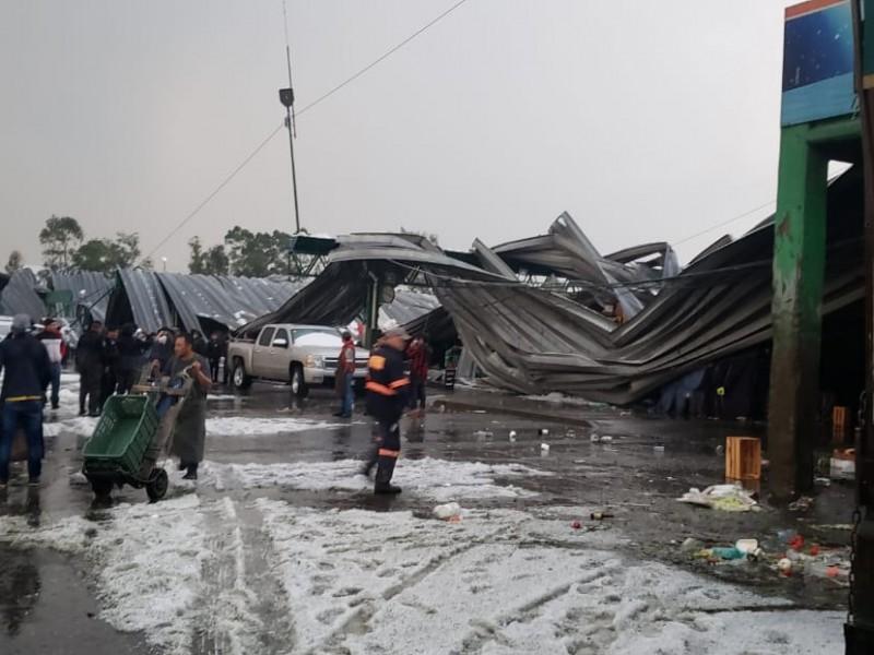 Por lluvia y granizada, colapsa techo de Central de Abasto