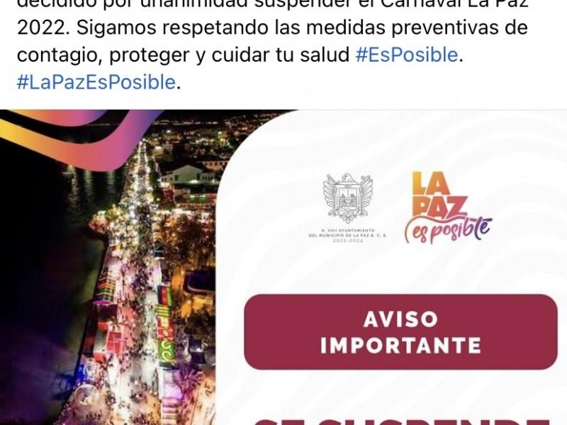 Por segundo año consecutivo cancelan Carnaval La Paz