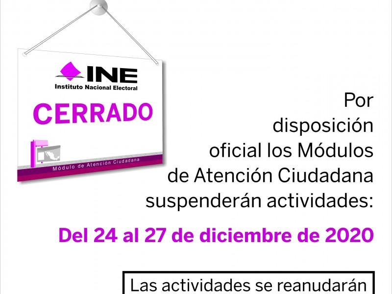 Por vacaciones, módulos del INE suspenderán actividades en Veracruz
