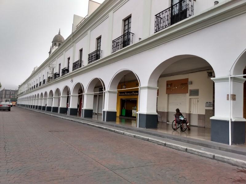 Portales de Toluca sin puestos por la Feria del Alfeñique