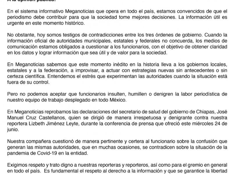 Posicionamiento del Comité Editorial de Meganoticias ante agresiones