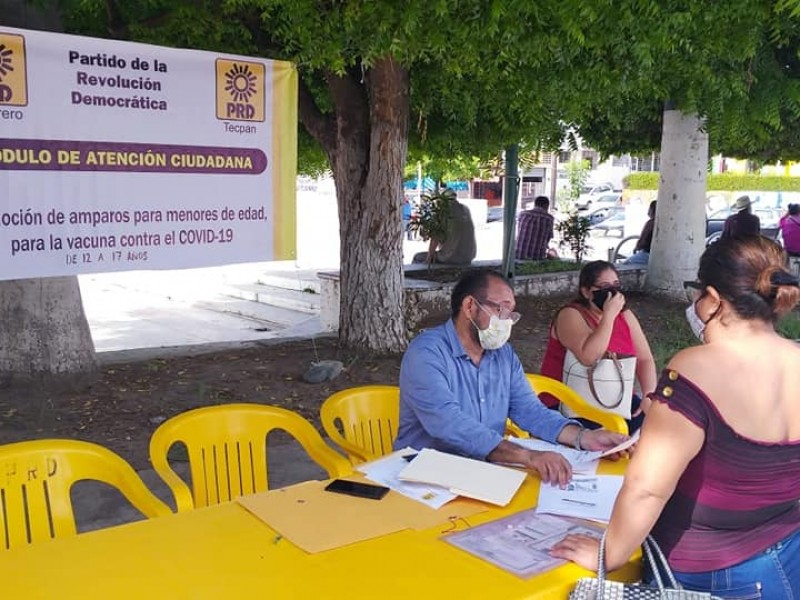 PRD Técpan promueve amparo para vacunar a menores contra COVID19