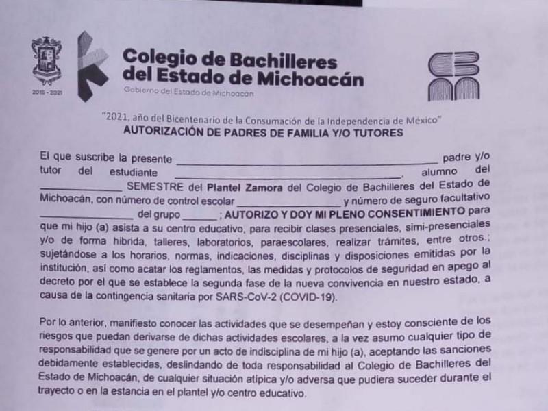 Prepara COBAEM regreso a clases, con carta autorización de padres
