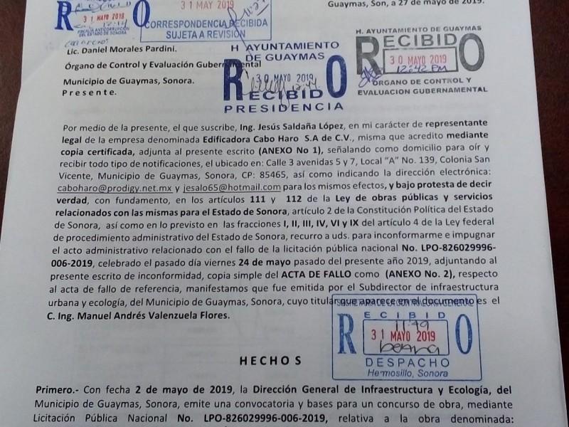 Presenta Constructora recurso de inconformidad contra Ayuntamiento