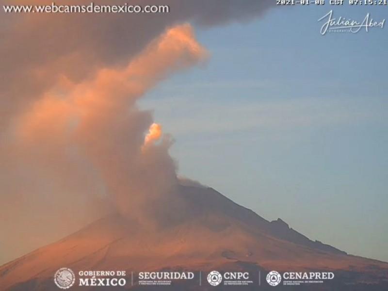 Prevén explosiones y caída de ceniza del volcán Popocatépetl
