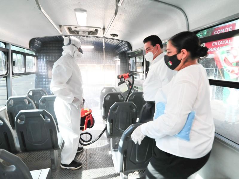 PRI sanitiza unidades de transporte público
