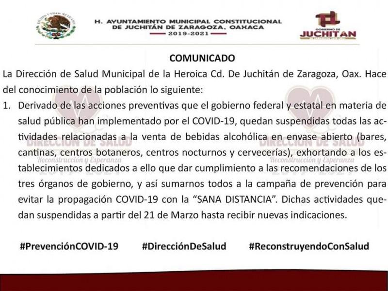 Prohíben venta de bebidas alcohólicas en Juchitán por COVID-19