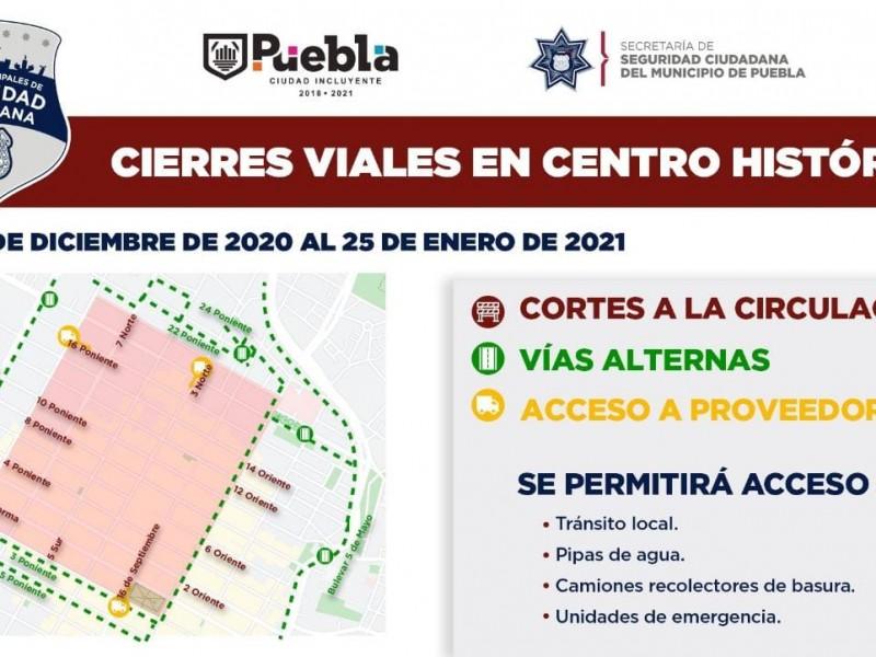 Prolongan cierre de vialidades del primer cuadro de la ciudad