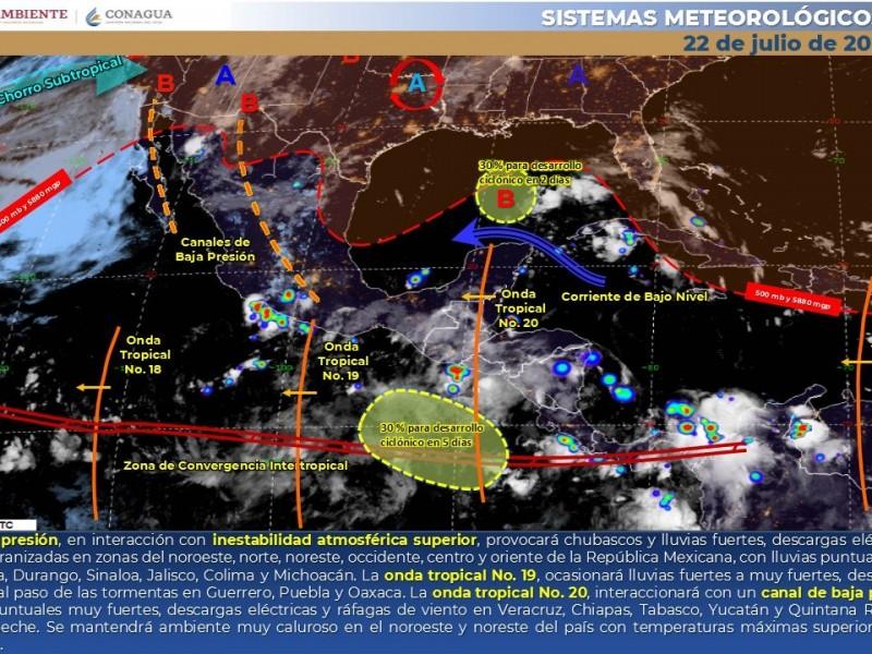 Pronostican lluvias dispersas y rachas de viento en algunas regiones