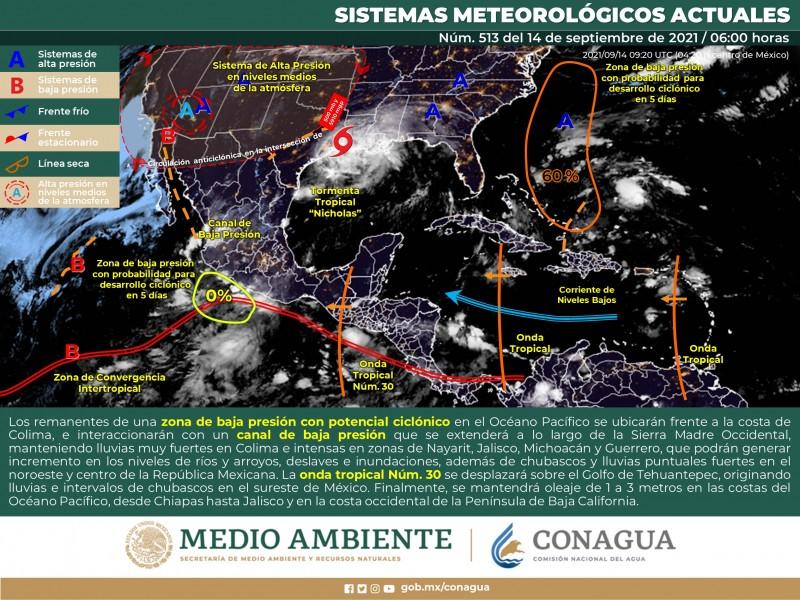 Pronostican lluvias en Costa Grande durante el día