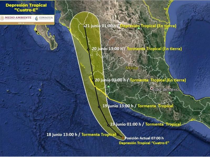 Pronostican lluvias muy fuertes en Colima por Depresión Tropical