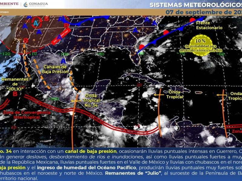 Pronostican rachas de viento y lluvias dispersas en varias regiones