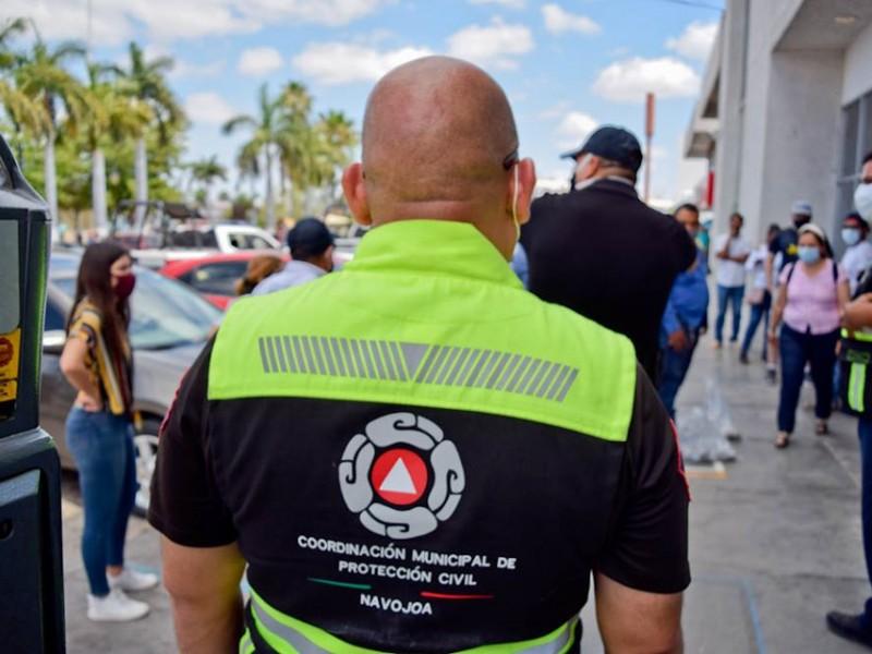 Protección Civil en Navojoa inspecciona la 'sana distancia' en bancos