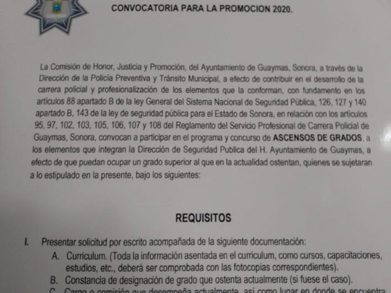Publican convocatoria para ascensos en Seguridad Pública