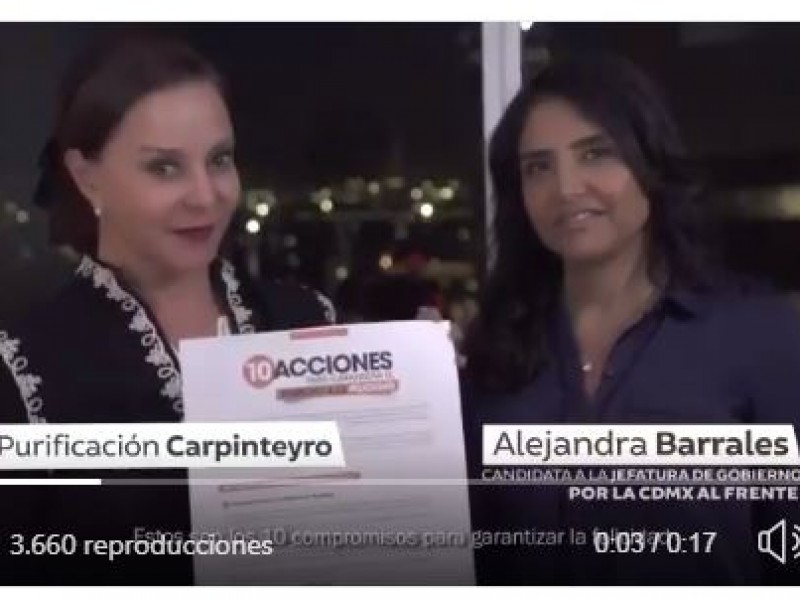 Purificación Carpinteyro llama a votar por Alejandra Barrales
