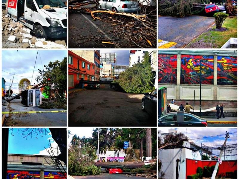 Ráfagas de viento causan daños en el Edomex