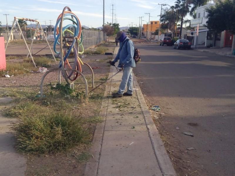 Realiza personal de rutas urbanas, limpieza en el bulevar Las Torres