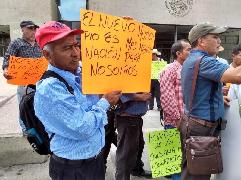 Rechazan nuevo municipio habitantes de Honduras Sierra