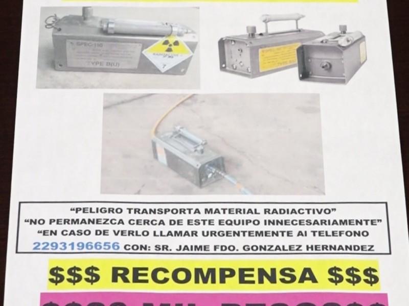 Recompensa de 20 mil pesos para dar con equipo radioactivo