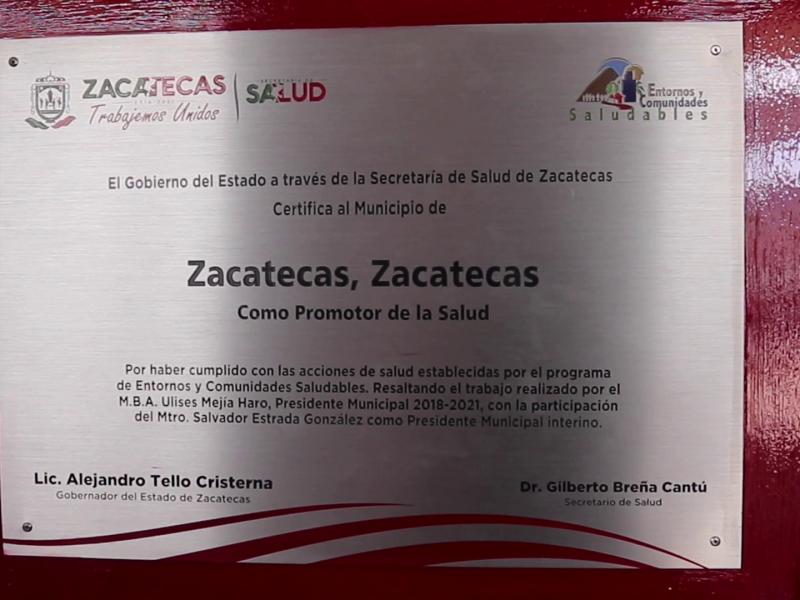 Reconocen al ayuntamiento de Zacatecas como