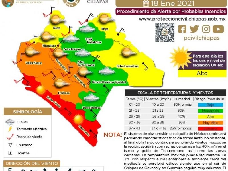 Regiones en Chiapas con condiciones atmosféricas extremas