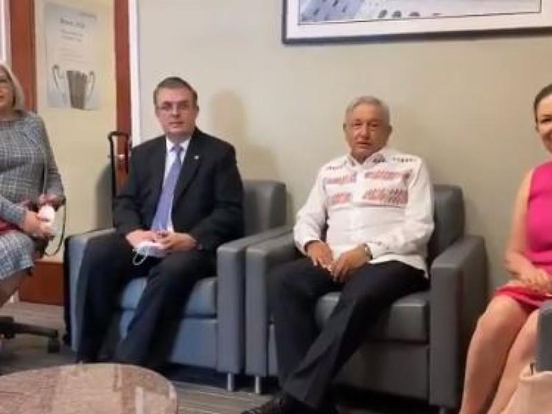 Regresa a México AMLO tras su reunión con Donald Trump