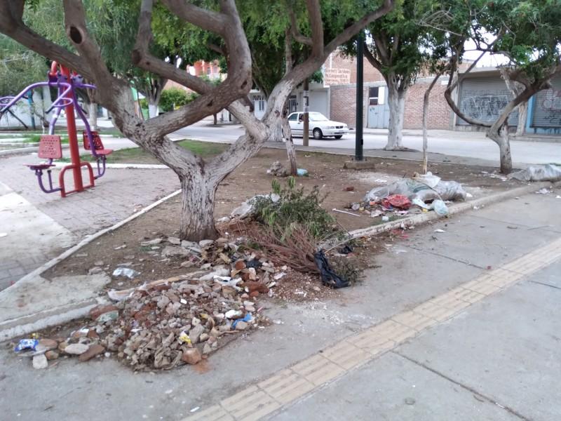 Reportan inseguridad y basura en parque público