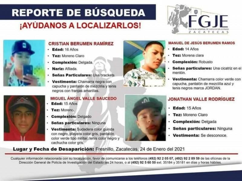 Reportan la desaparición de seis jóvenes en Fresnillo