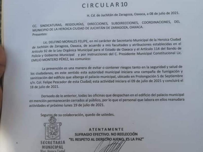 Reportan posible contagio de Covid-19 entre funcionarios de Juchitán