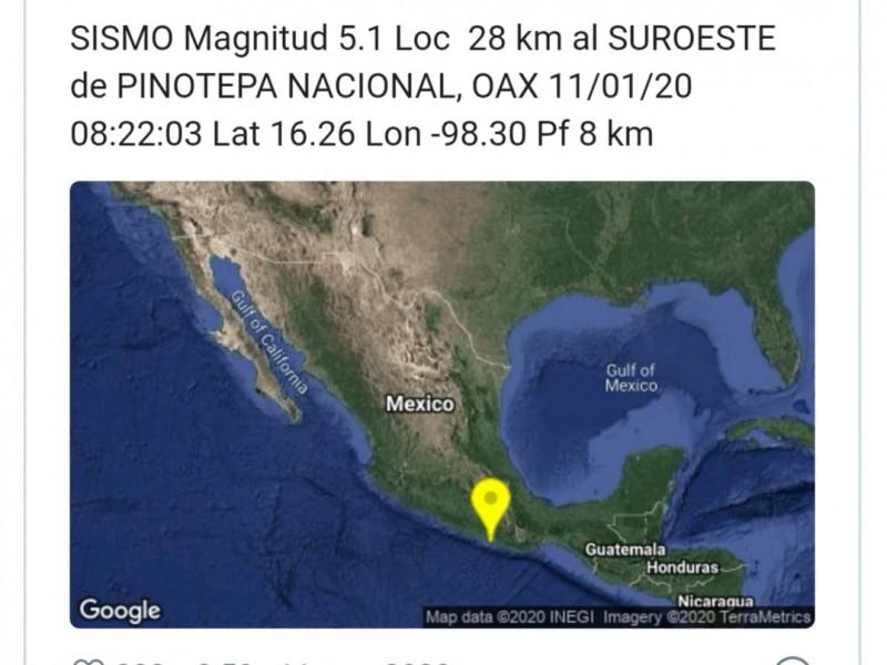 Reportan sismo de magnitud 5.1 en Oaxaca