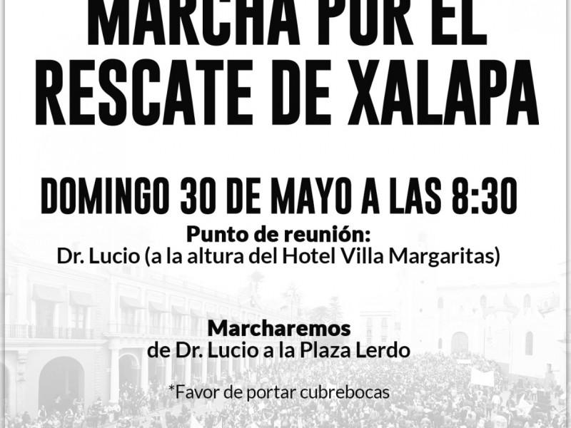 Respalda coalición PAN-PRI-PRD marcha por el Rescate de Xalapa