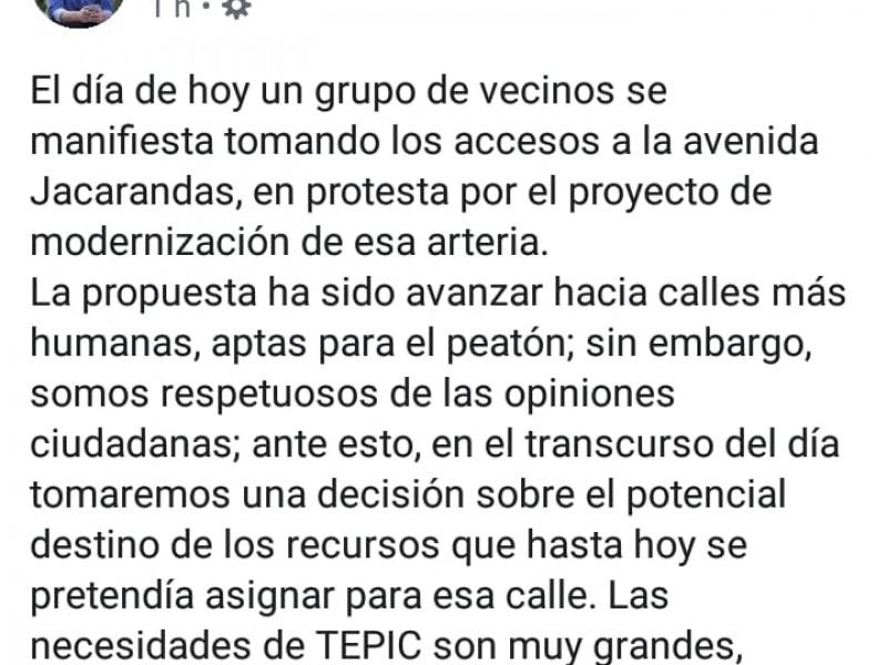 Responde AEG a bloqueo ciudadano en avenida Jacarandas