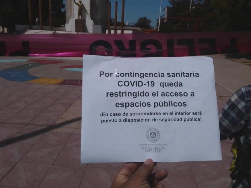 Restringen acceso a espacios públicos en Empalme por contingencia