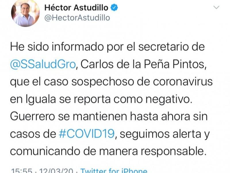 Resulta negativo caso sospechoso de coronavirus en Iguala