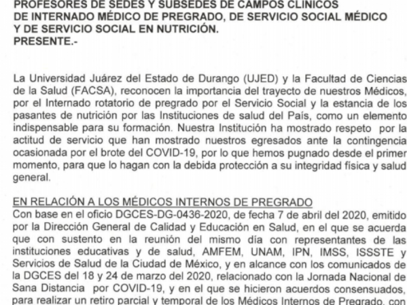 Retira UJED a pasantes de instituciones de salud por COVID-19