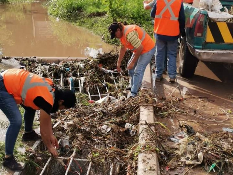 Retiran basura de bocas de tormenta en Salvador Alvarado