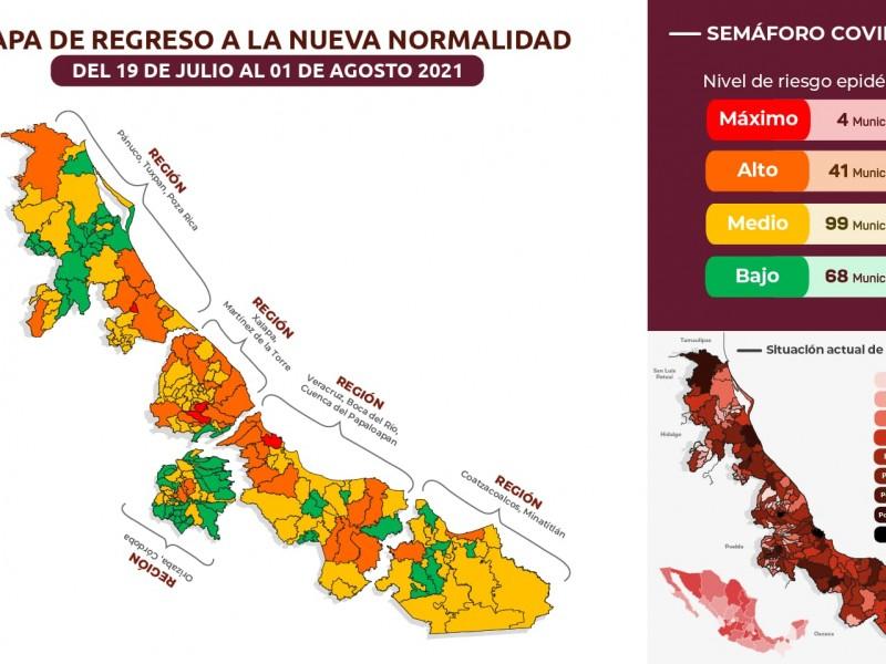Retroceden municipios veracruzanos en semáforo regional