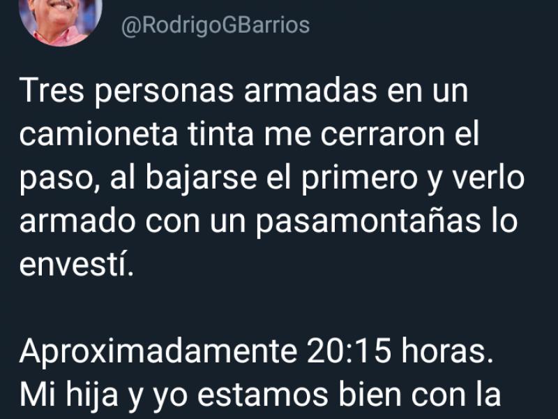 Rodrigo González Barrios sufrió atentado