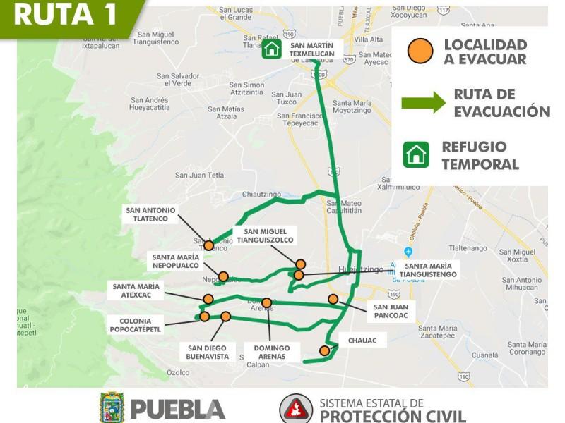 Rutas de evacuación en zonas aledañas al Popocatépetl