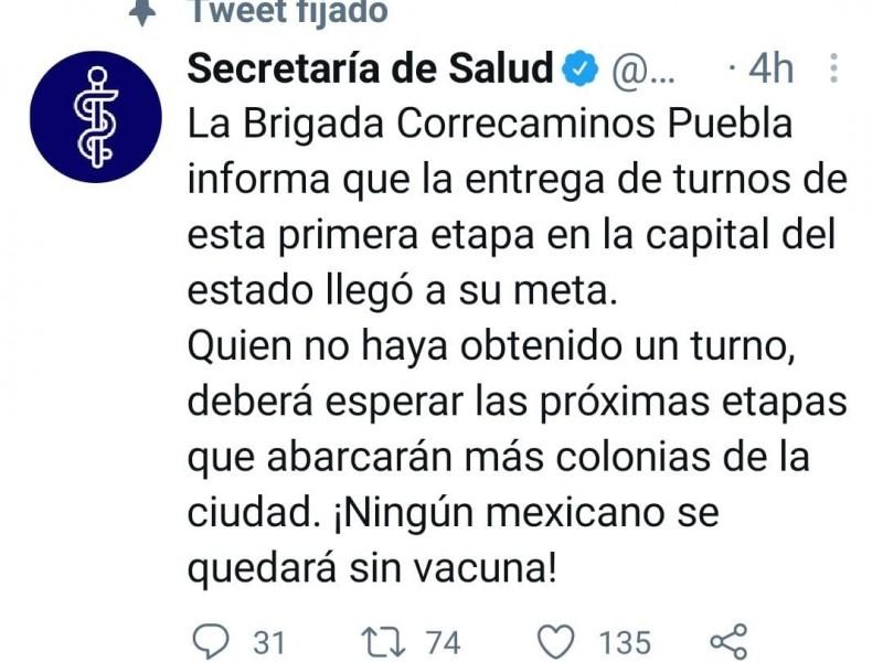 Se acaban los turnos para vacunación COVID en Puebla capital