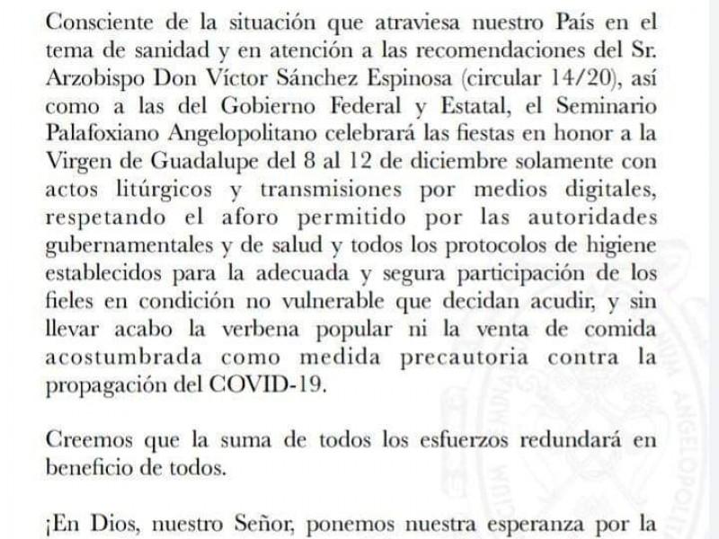 Se cancela Feria Guadalupana tras COVID-19
