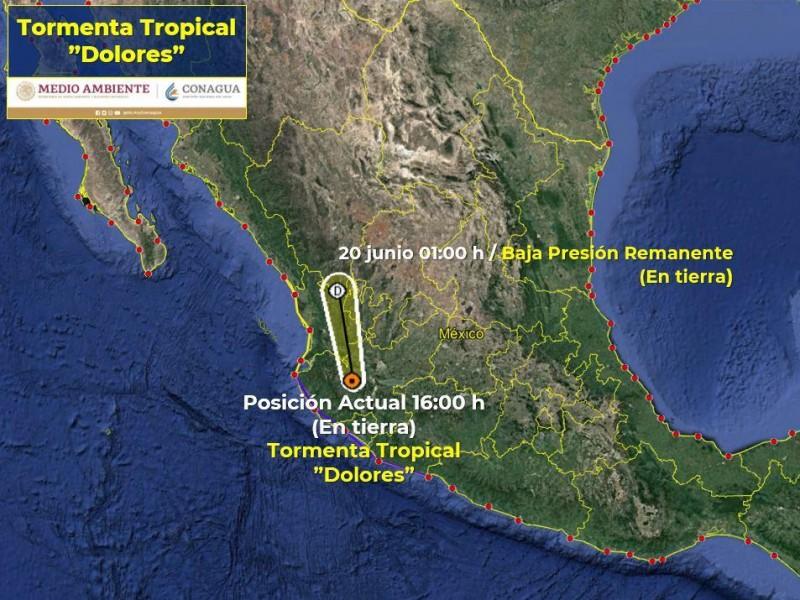 Se debilita Tormenta Tropical Dolores