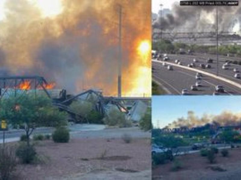 Se descarrila tren y provoca gran incendio en Arizona