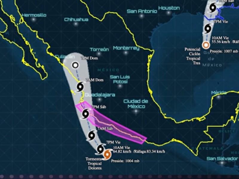 Se espera domingo lluvioso para Nayarit por tormenta Dolores