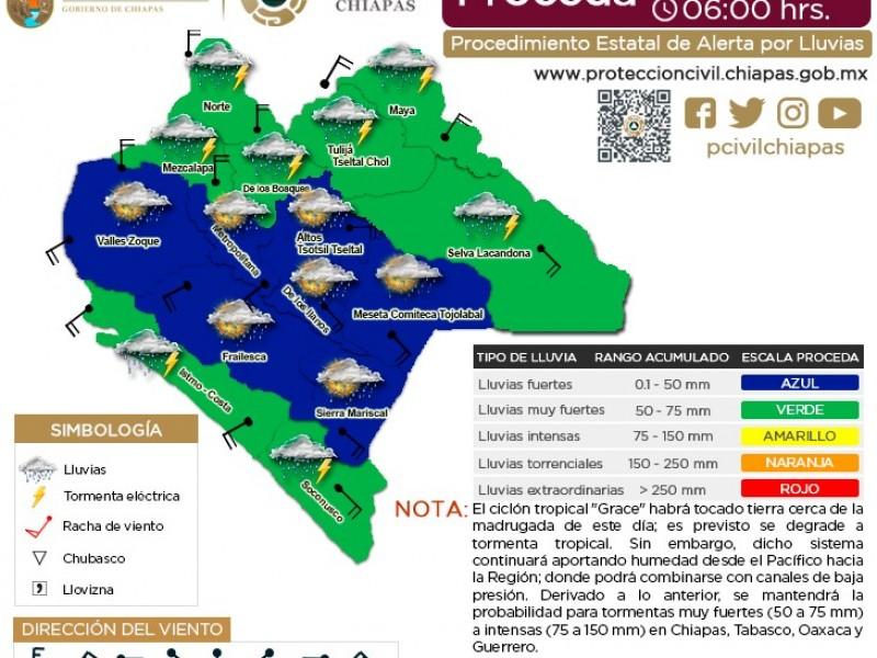 Se esperan lluvias muy fuertes en 8 regiones de Chiapas.