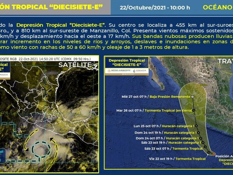 """Se forma Depresión Tropical """"Diecisiete-E"""" frente a Guerrero"""