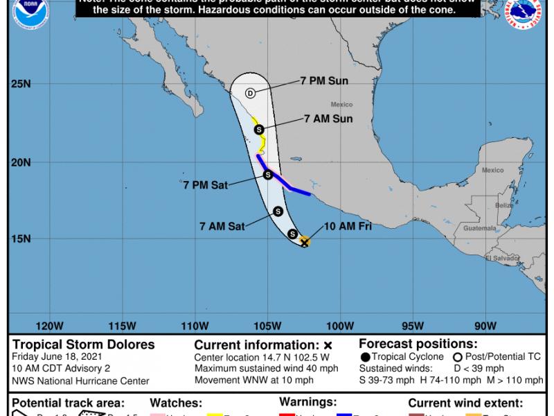Se forma la tormenta tropical Dolores