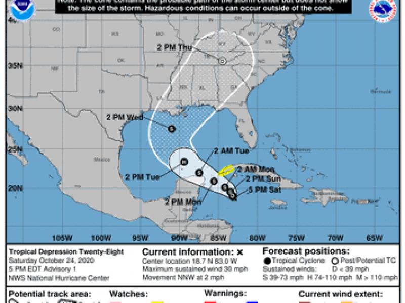 Se forma la Tormenta Tropical Veintiocho