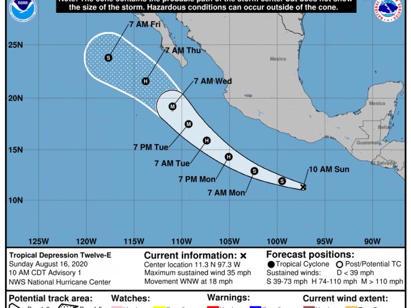 Se forma nueva depresión tropical en el Pacífico