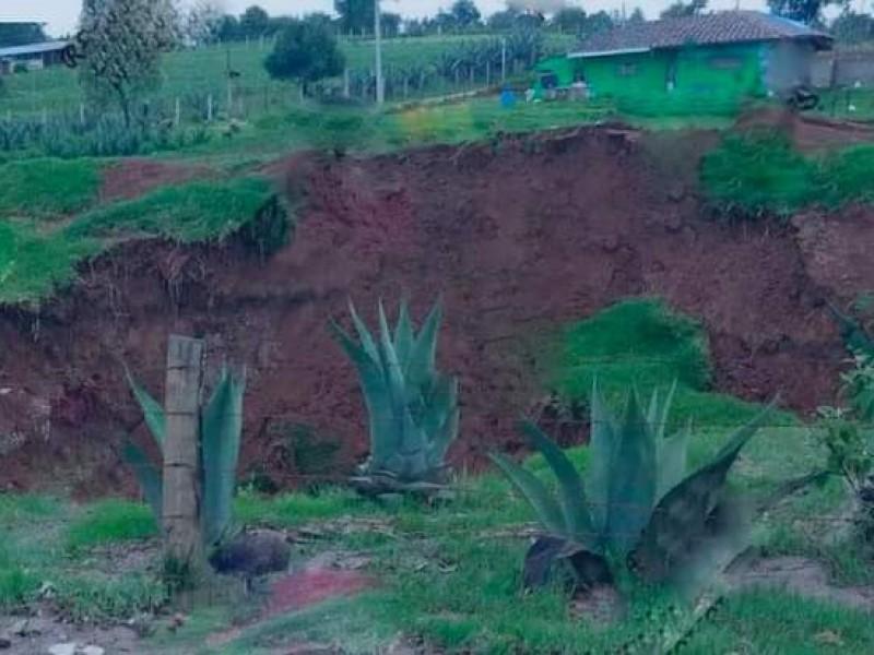 Se forma socavón en terrenos de cultivo de Ahuazotepec